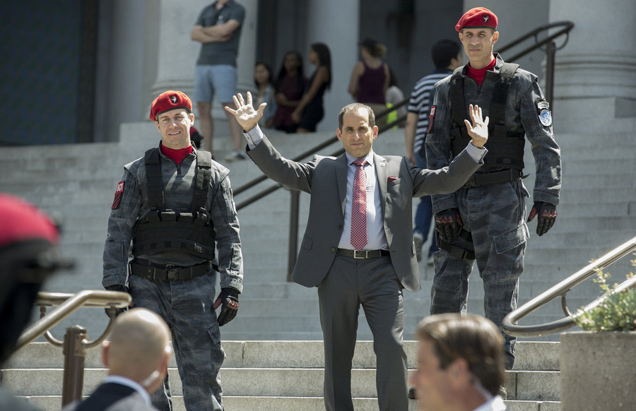"COLONY -- ""Geronimo"" Episode 105 -- Pictured: Peter Jacobson as Proxy Alan Snyder -- (Photo by: Isabella Vosmikova/USA Network)"